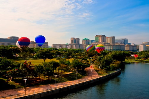 1 Panaromic view of the tethered balloon rides to thrill visitors.