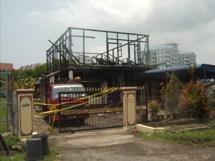Jalan Petani Burnt house front view