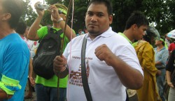 Abdul Hafiz ready to shoot intruders  with his bow and arrow