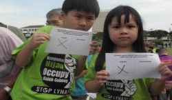 Cute children in anti-lynas T-shirt also get to vote.
