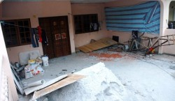 An uncompleted home and the mess left behind after the contractor absconded with the money.