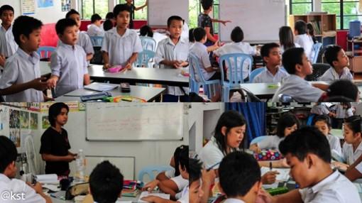 Mon children at a makeshift school in Kuala Lumpur