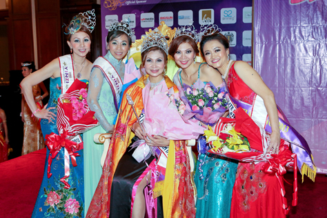 Mrs Elite Malaysia Intl 2013 Tian Lee Na (center), 1st runner-up Lim Woan Rou (2nd right), 2nd runner-up Jena Chuan (2nd left), 3rd runner-up Angie Tan (1st left) & 4th runner-up Ang Kui Chin (1st right)