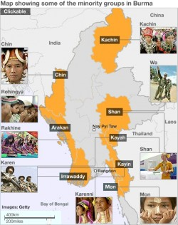 Map of Myanmar showing the 7 Ethnic Minority States