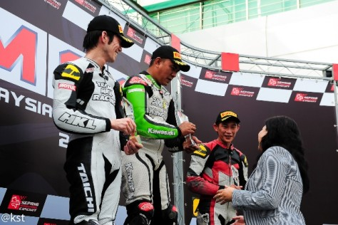 Ahmad Zamani at the podium in the SuperBike A Championship at the Malaysian Super Series 2013