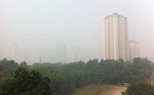 View of Mont Kiara and surroundings from Dutamas/Segambut. (12:10 pm). Photo by R Vijay Kumar