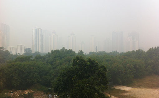 View of Mont Kiara and surroundings from Dutamas/Segambut. (12:00 pm). Photo by R Vijay Kumar