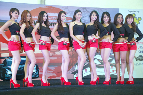 Malaysian Super GT Queen Search 2013 finalists - Vikky Hue, Twinkle, Amelia Gan, Agnes Yap, Madaline, Elise Wong, Angeline Yap, Shila and Stilly Goh