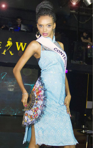 African in cheongsam dress