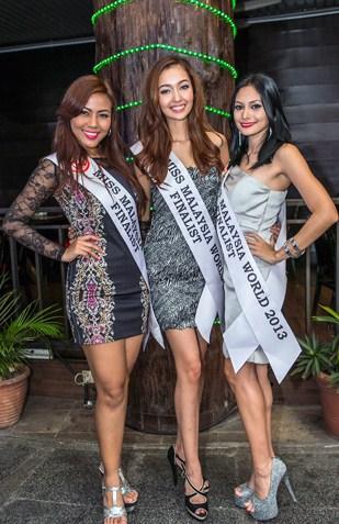 Miss Malaysia World 2013 finalists (L-R) Miera Sheikh, Wafa Johanna de Korte and Kathrina Bt Ridzuan
