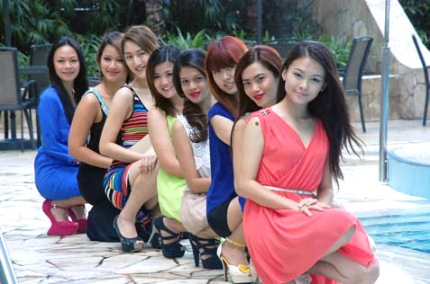 Miss Scuba Malaysia 2013 participants at a press conference in KL
