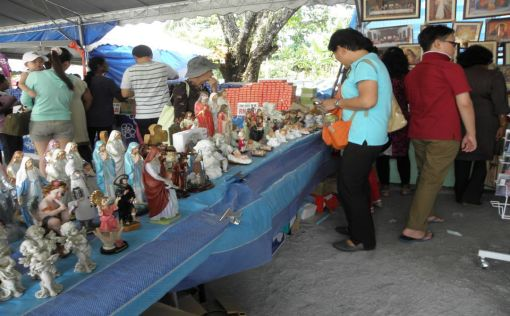 Religious items, like statue, posters, medals, etc. were on sale