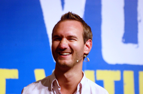 Smiling face and inspirational message of Nick Vujicic