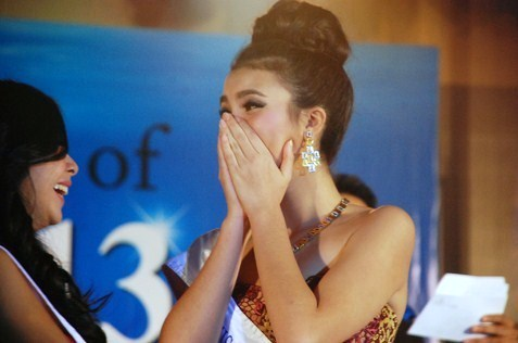 Jade Park reacts when she was named Miss Scuba Malaysia 2013