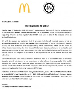 MC Donald's official statement