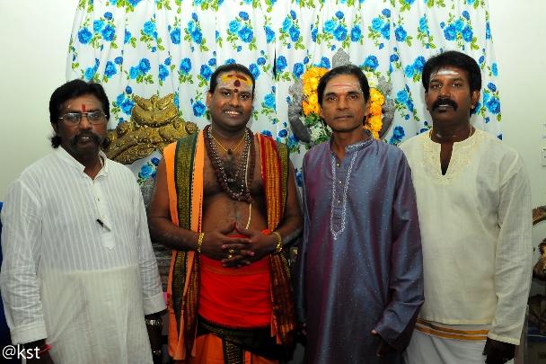 L to R: Manogaran Temple Sec, Gurukkal Vitya, Palaiya Temple Chairman
