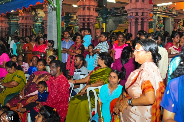 Devotees attending the Vijayadasami at Raja Rajeswari Temple, Klang