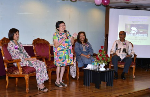 Barbara Yen addressing guests during her debut book launch