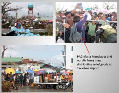 distributing relief at Tacloban airport