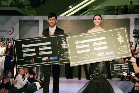 Asia New Star Model Contest 2014 male winner Josh Yen (left) and female winner Coco Siew