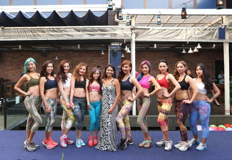 Liquido Malaysia founder and CEO Nadia Hasbi (centre) posing with the 10 Liquido Miss Bikini 2013 finalists