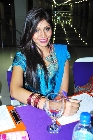 Miss India Malaysia 2012 Sharmistta Yoogan judging at Miss Saree Malaysia 2013 grand finale