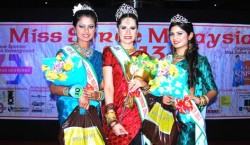 Miss Saree Malaysia 2013 Massuhaella (centre), with 1st runner-up Vanessa (right) and 2nd runner-up Rupini (left).