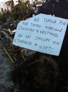A note of appreciation by the locals found on a tree stump