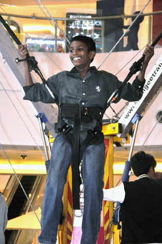 The children of Agathians Shelter had an exhilarating time as they bounced sky high on the bungee trampoline at eCurve