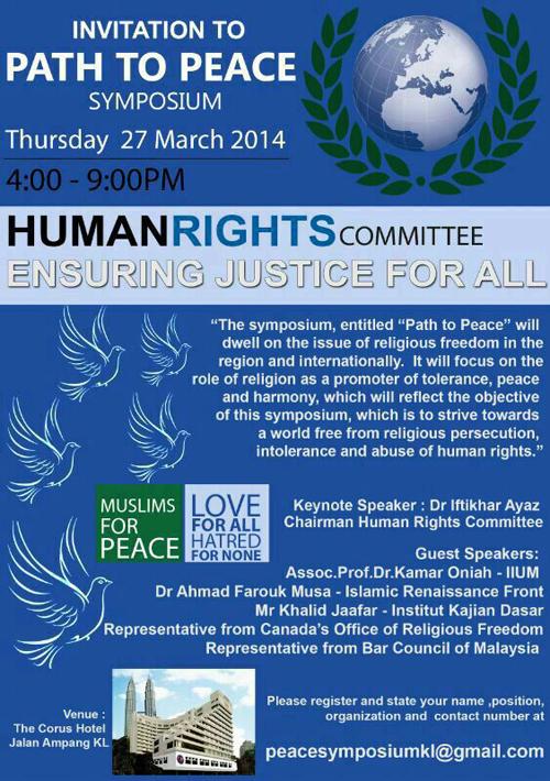 Path to Peace Symposium KL 2014
