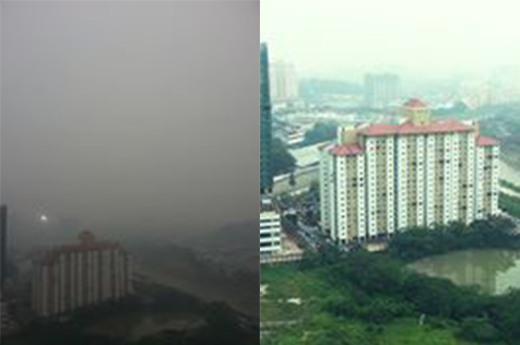 View from Citizen Journalist Malaysia office at The Scott Garden, Old Klang Road. The smog filled sky on 3th March (left) showing some improvement on 4th March (right). [Images curtesy of Ms Neelvili Panduranggan]