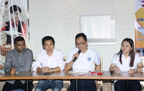 Jason Hee speaking at a press conference to launch the Miss World Cup Malaysia 2014.