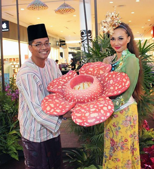 Azizul Hisham Ahmad holding a blooming Rafflesia to officially launch eCurve's Mekar Raya event.