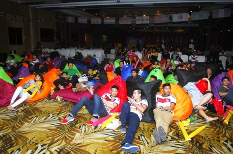 'Beanbag' chairs for viewers comfort during Domino's Football Final Viewing Party