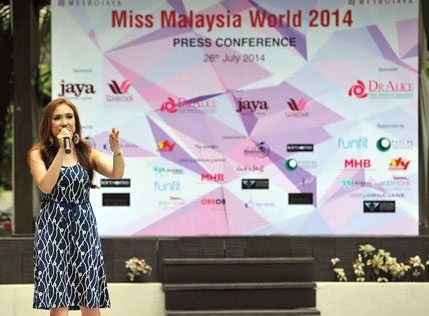 Miss World Malaysia 2014 official licensee and pageant organiser Dato' Anna Lim speaks at the Miss Malaysia World 2014 finalists revealed press launch.