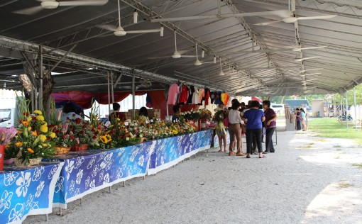 Sale of flowers by the church