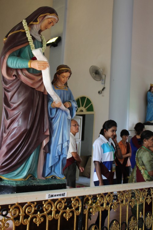 Inside the Shrine of St Anne. The statue of St Anne, with Mary by her side