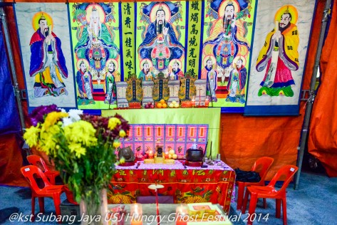 A Toaist sacrificial alter with images of athe 5 most powerful deities in the Universe with the Jade Emperor in the centre