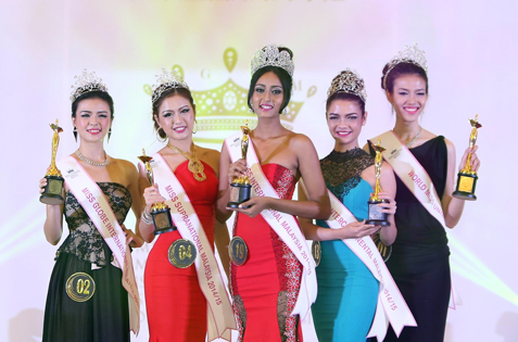 MGIM 2014 Five Beauty Queens (L-R) Wendy Foo, Audrey Loke, Jayarubini Sambanthan, Nicole Bungan and Naomi Sim