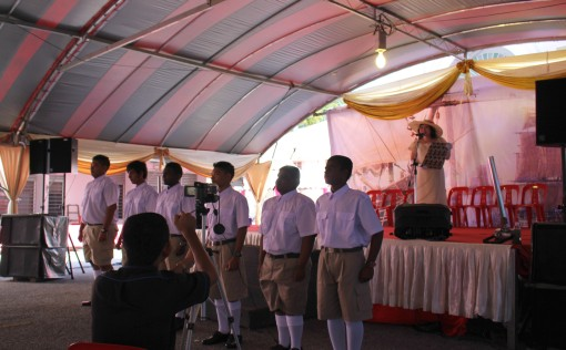 The Sepoys marching in before the sea captains came on stage.