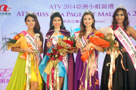 ATV Miss Asia Pageant Malaysia 2014 Jacinda Rae Webb (2nd from left). Flanking her are (from left) Jasmine S00 (1st runner-up), Michelle Loh (2nd runner-up) and Leanndrea Anne (3rd runner-up)