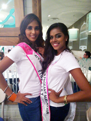 The heat is on for finalists Leanndrea Anne (left) and Geetha to battle it out at the ATV Miss Asia Pageant Malaysia 2014 grand finale.