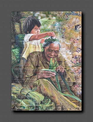 """See Poh Chen from Southern University College won first prize in the Mixed Media category for her art piece entitled """"'Anyaman Mengkuang'."""