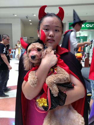 Tong Wei Yan and her prized poodle