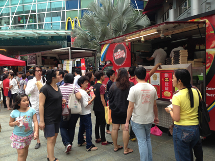 'HungryGoWhere food truck fiesta was held in celebration of the online food guide's 1st anniversary.