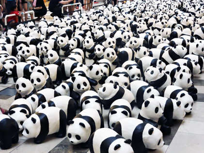 The 1,600 pandas in various poses on display at Publika, KL