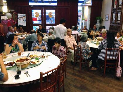 Senior citizens from Rumah Charis Old Folks Home feasted to a nyonya cuisine dinner at Ah Tuan Ee's Place restaurant at the Curve