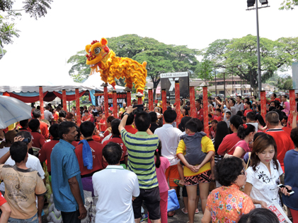 An acrobatic lion dance troupe entertains and thrills the crowds with their amazing skills