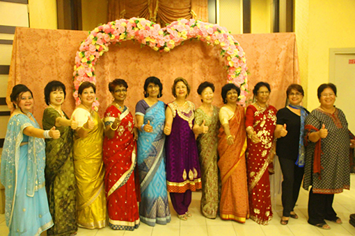 Organizing Committee and helpers – left to right – Michallina Chua, Lai Sing Lan, Gerardine Lopez, Christabell Isaiah, Sarala Gopi (chairperson organizing committee), Theresa Thexeira, Agnes Chow, Shirley Karupiah, Philomena Benedict, Carole Carvalho & Christine Poo.