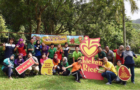Employees of The Chicken Rice Shop along with Children's Wish Society of Malaysia committee members are ever ready for the first-ever TCRS Chick-A-Thon fund-raiser on May 31, 2015.
